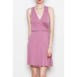 Double Zero Ribbed Pink Wrap Dress